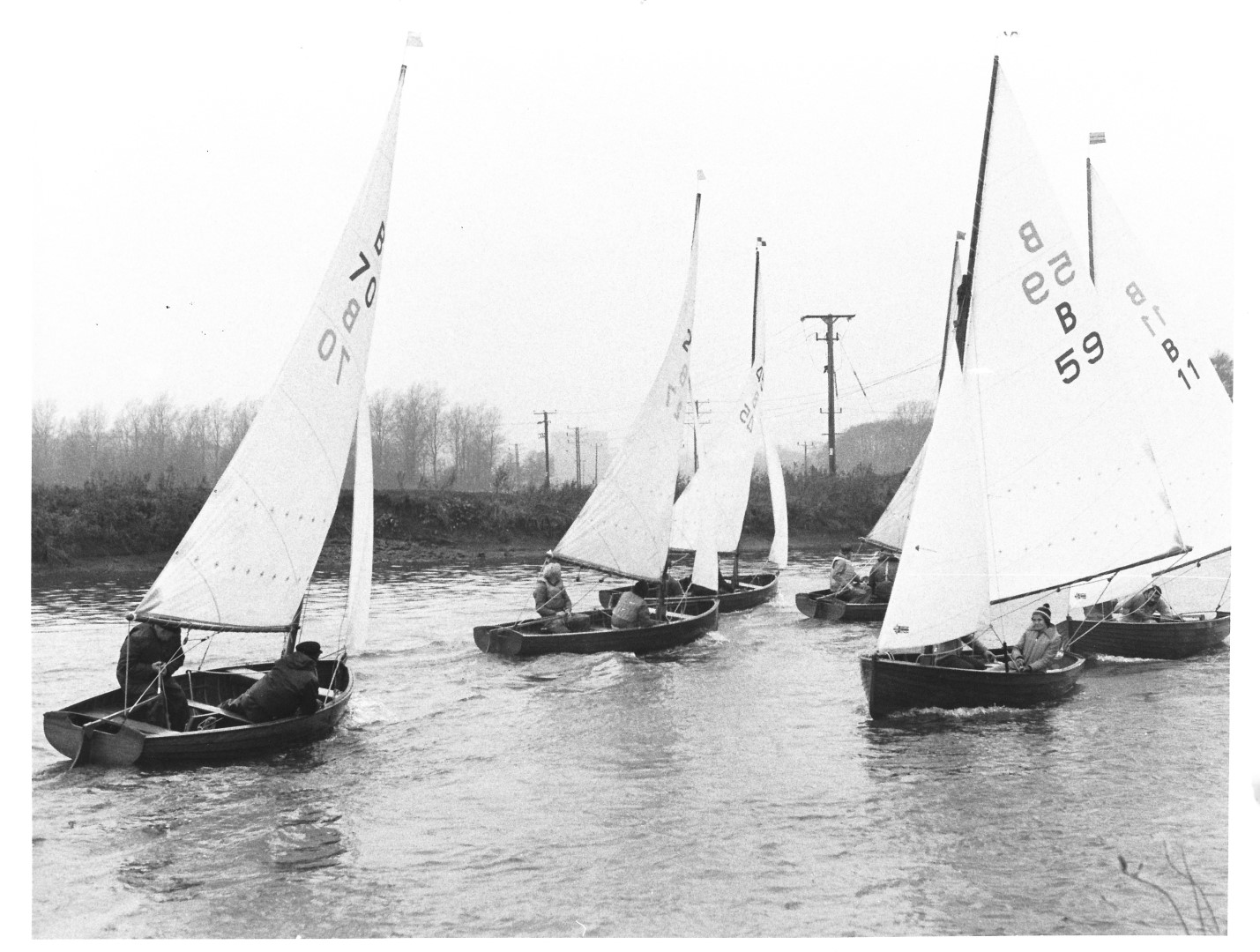 Norfolk Dinghies racing on the Yare at Whittlingham - NFSC Dec 1982