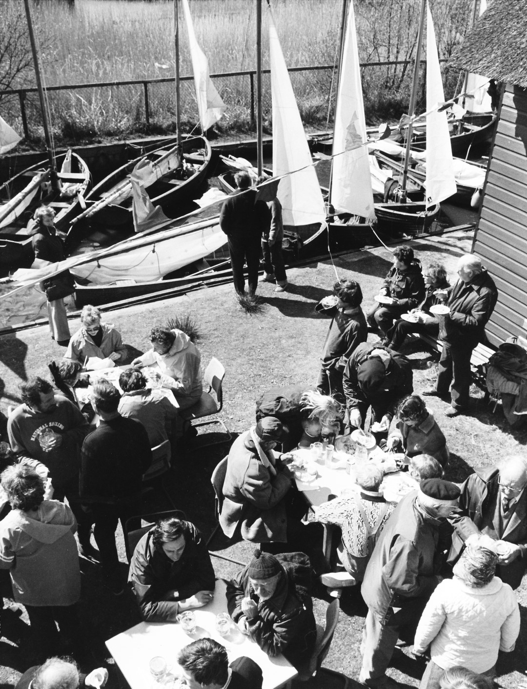 Drinks and lunch for the crews at Hickling Broad SC - Norfolk Dinghy Jubilee Race 15.04.81
