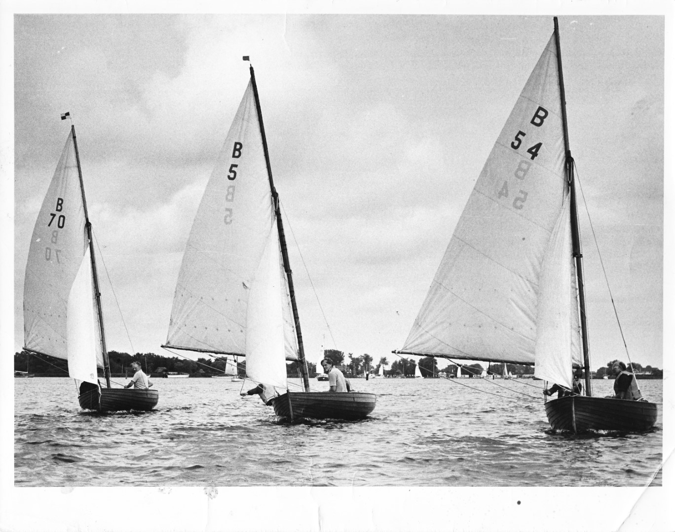 Three Norfolk Dinghies heading up Hickling Broad - 1975